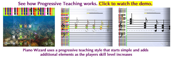 Click for Piano Wizard Progressive Teaching Style Demo
